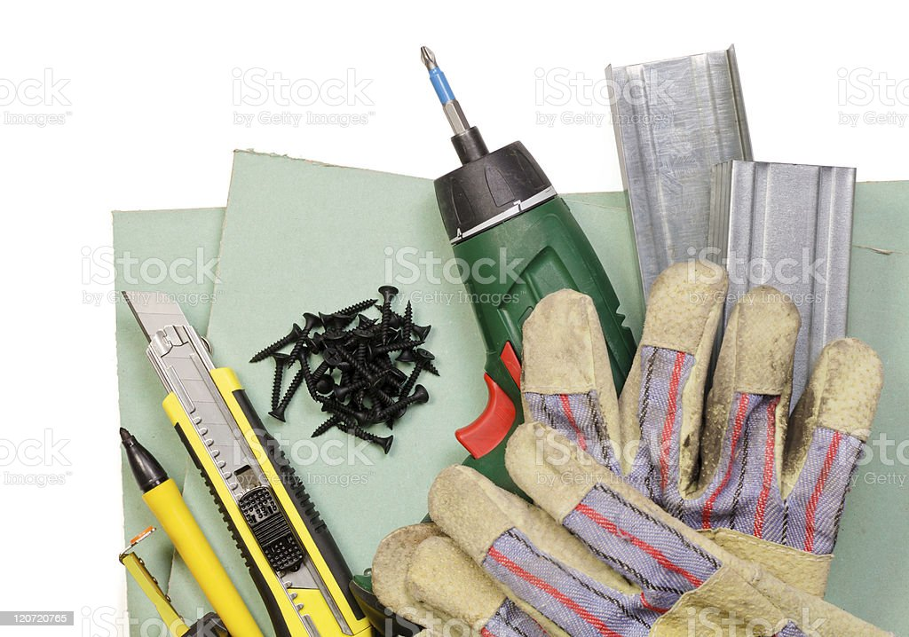 Drywall tools set royalty-free stock photo