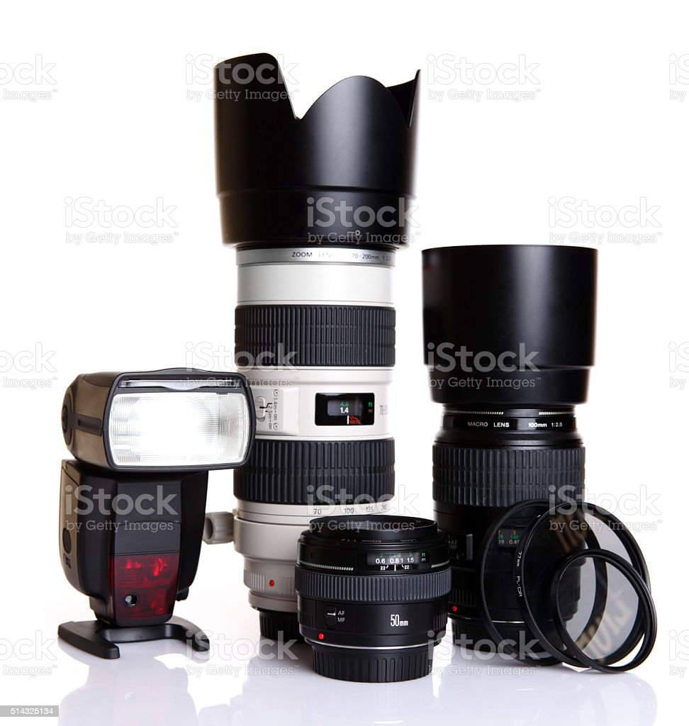 Dslr lenses with filters and flash stock photo