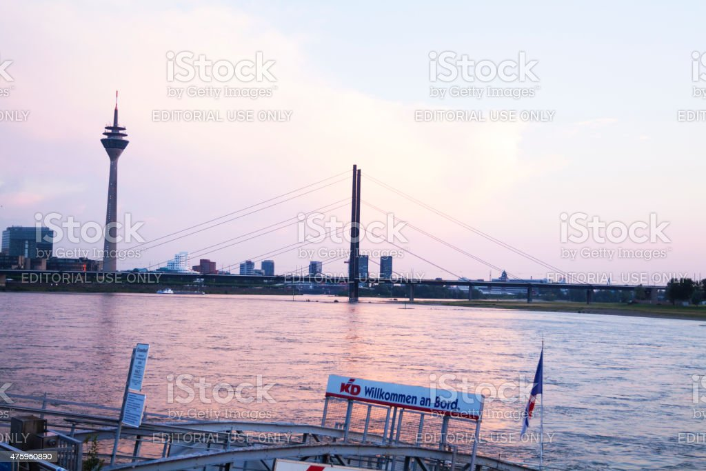 D?sseldorf at Rhine in summer sunset stock photo