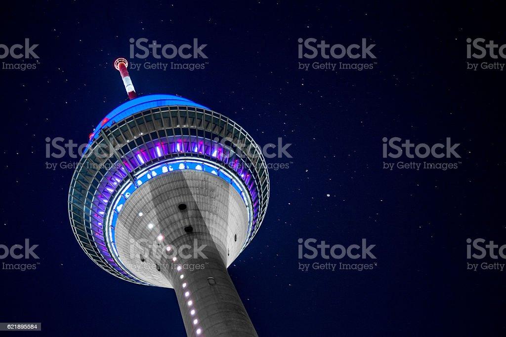 Düsseldorf Fernsehturm bei Nacht stock photo