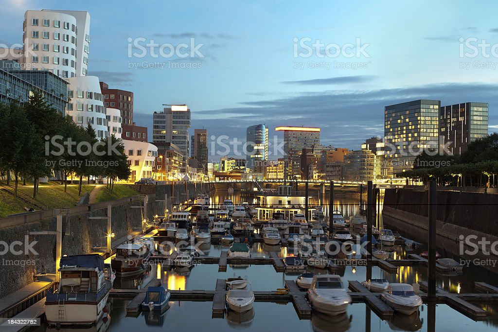 Düsseldorf harbor at dusk stock photo