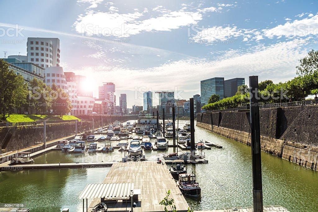 Düsseldorf harbor with sun stock photo