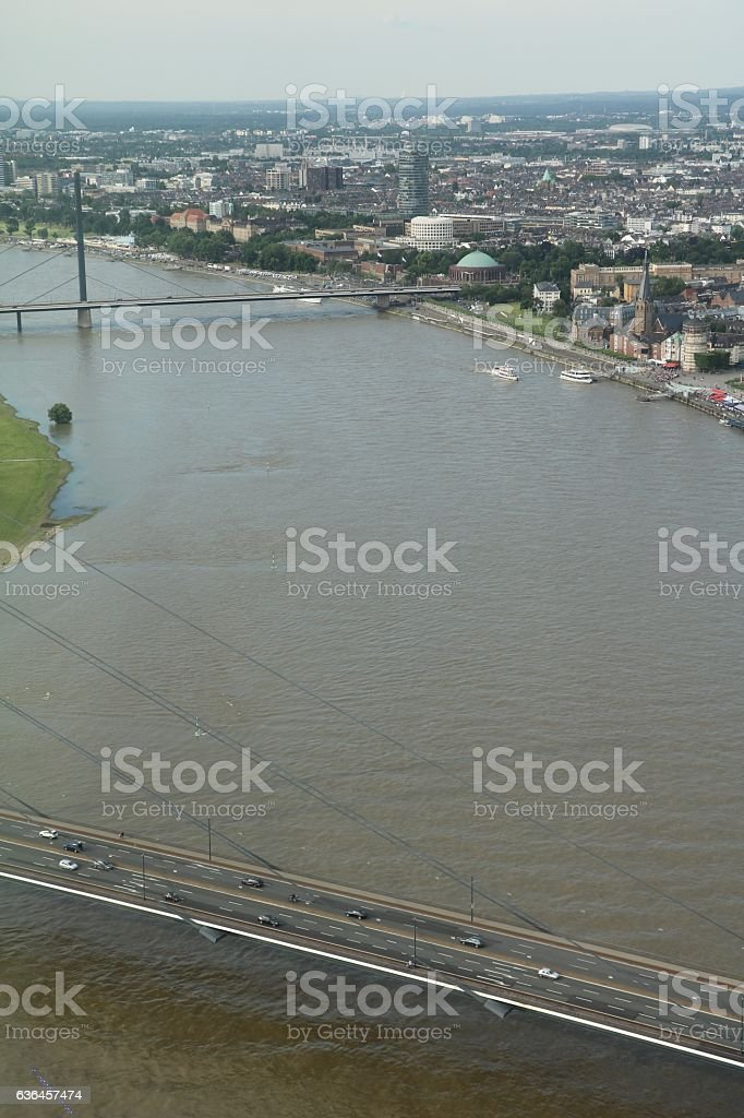 Düsseldorf on River Rhine, view from above, Germany stock photo