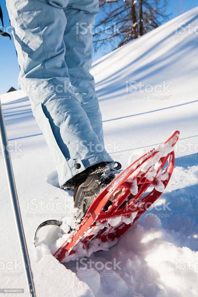 détail de raquettes dans la neige stock photo