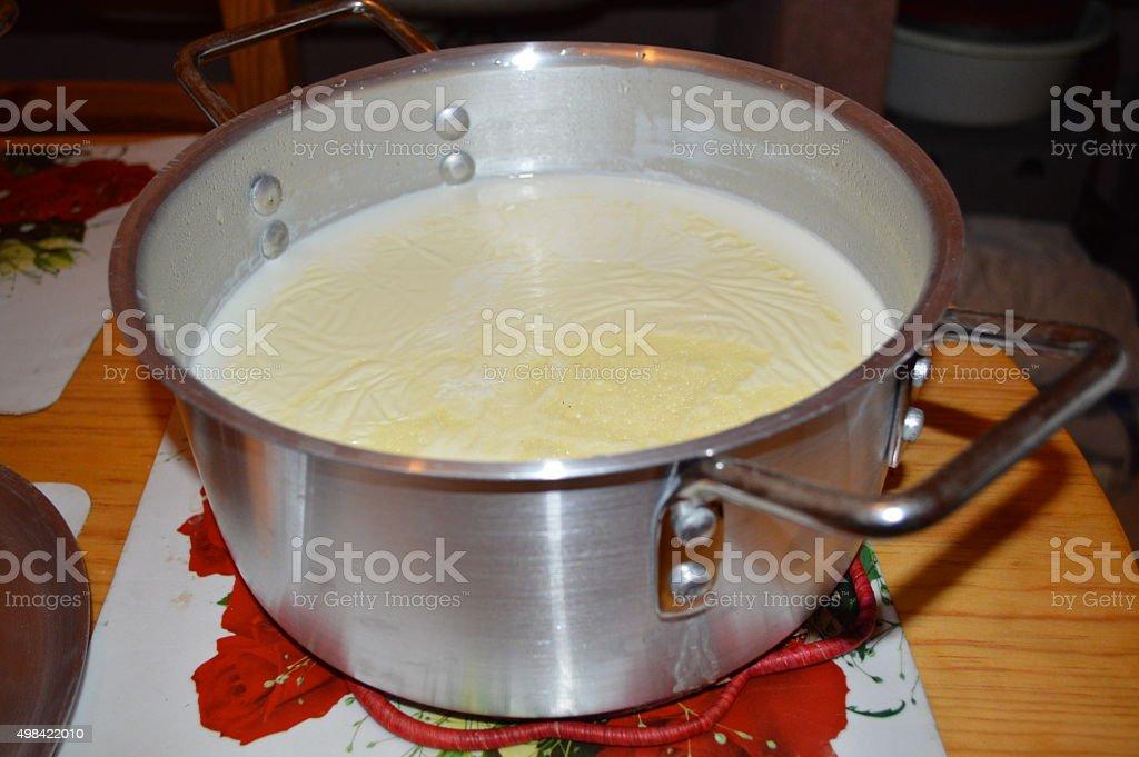 Du lait écrémé dans une soupière stock photo