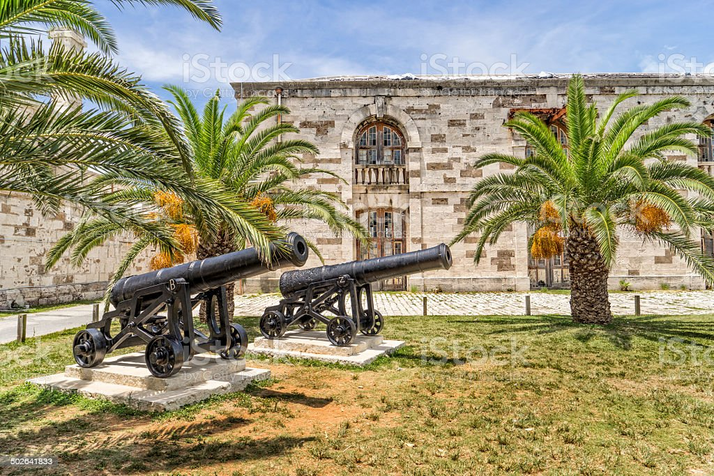 Dual Cannons stock photo