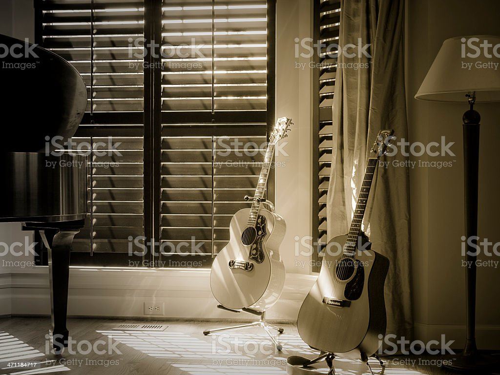 Dual Guitars stock photo