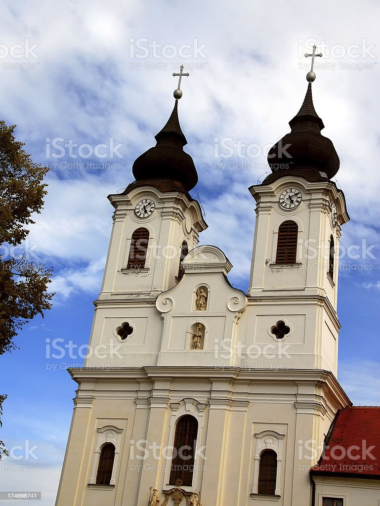 Dual Spires of the Abbey Church in Tihany, Hungary royalty-free stock photo