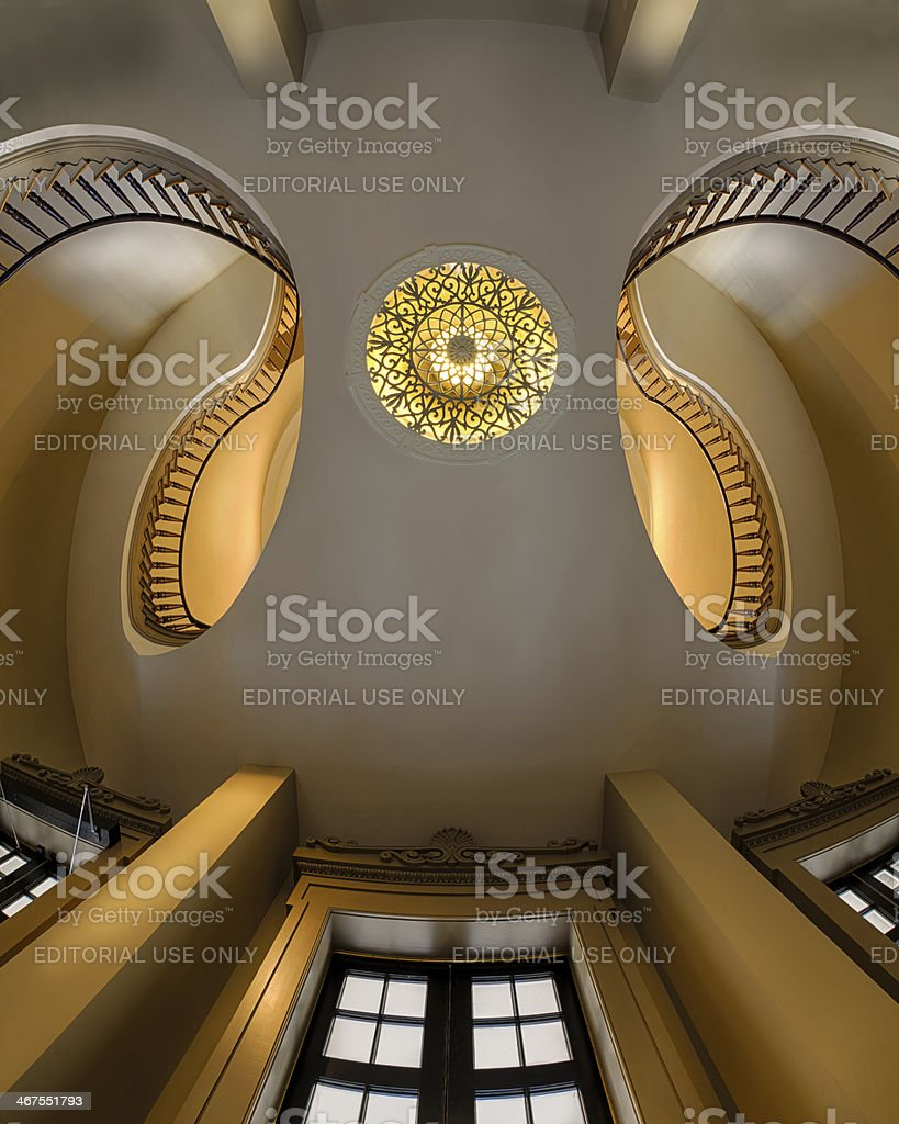 Dual staircases stock photo