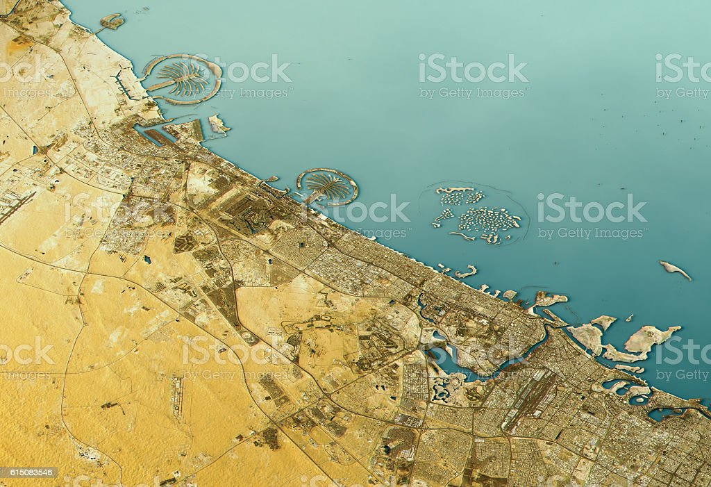 Dubai 3D Landscape View East-West Natural Color stock photo
