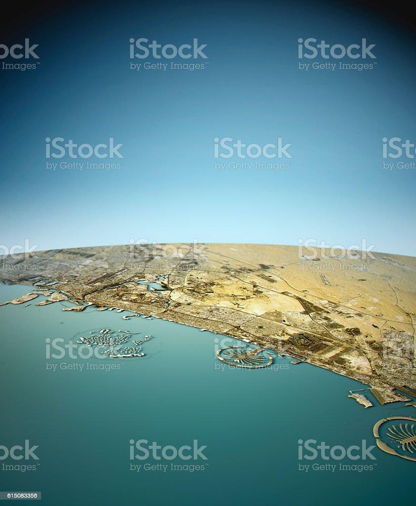 Dubai 3D View West-East Natural Color stock photo