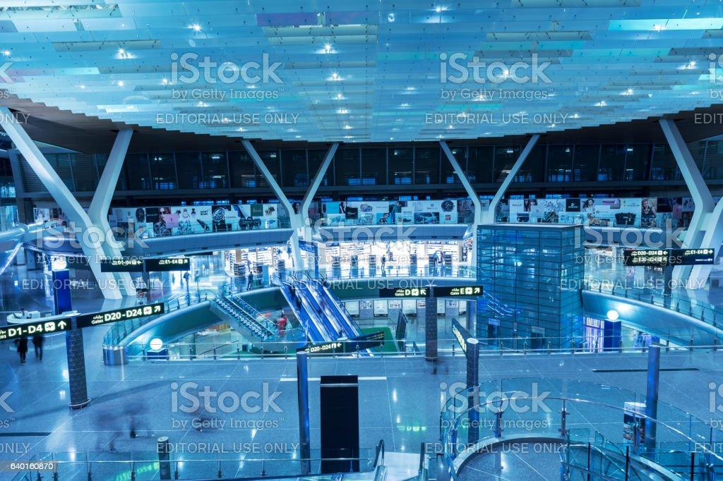 Dubai airport terminal in blue tint mode stock photo