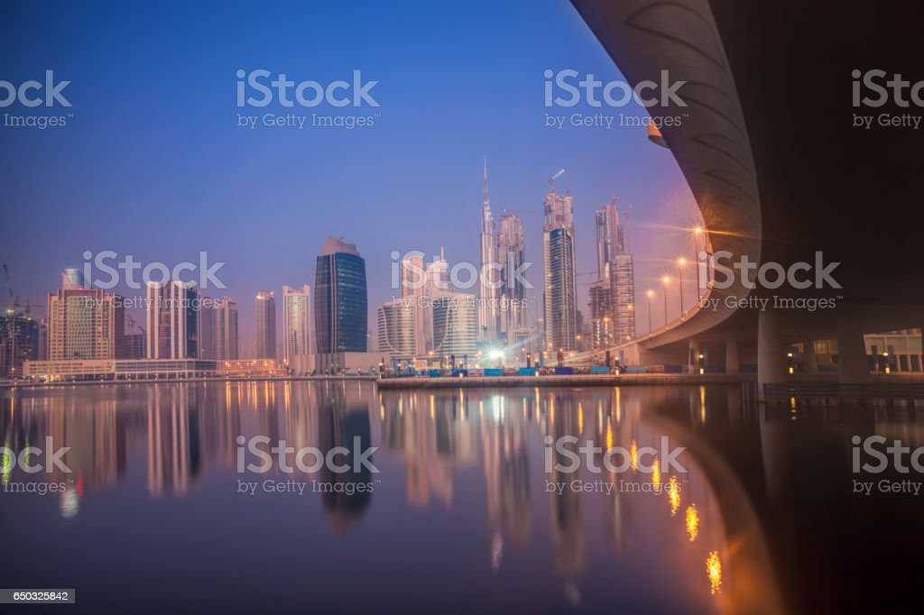 Dubai at night with skyscrapers in United Arab Emirates stock photo
