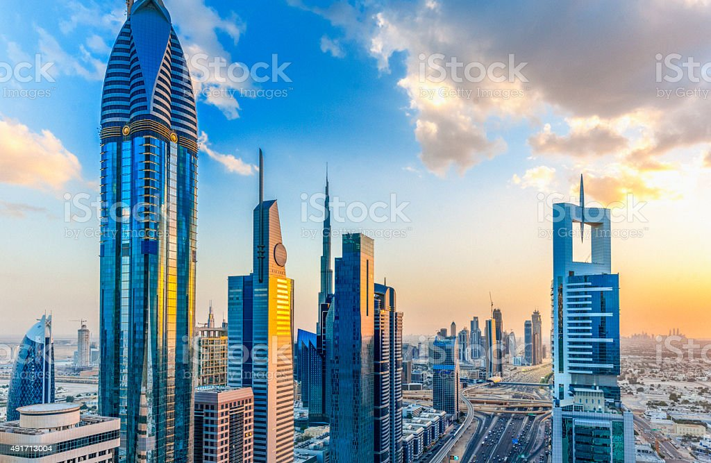 Dubai at sunset stock photo