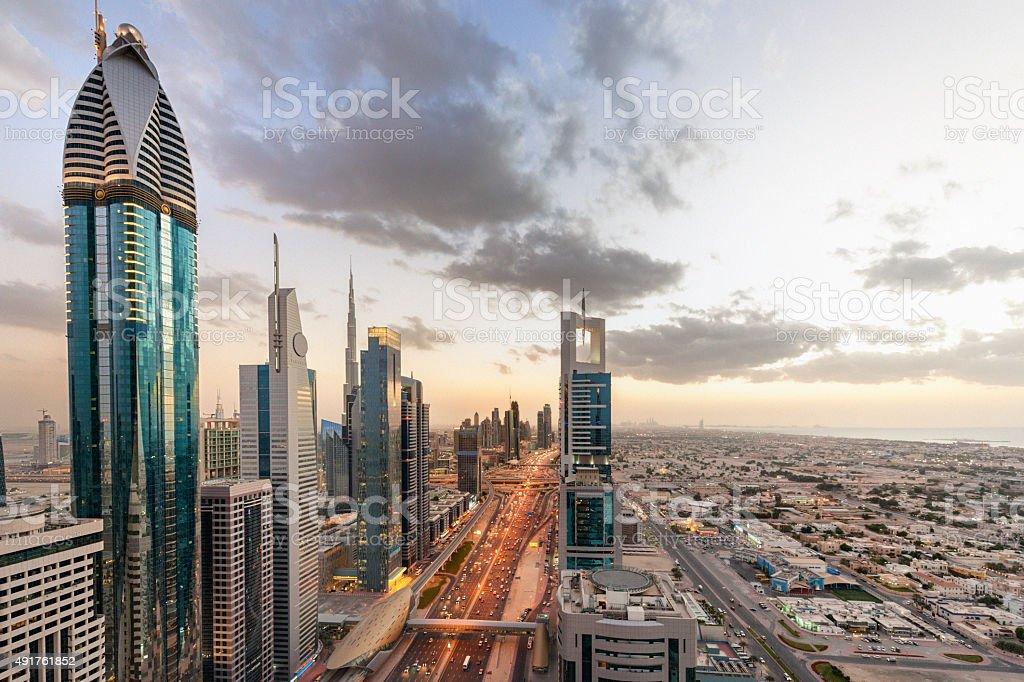 Dubai at sunset stock photo
