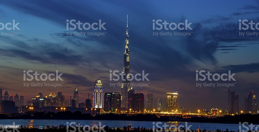 Dubai Blue Skyline stock photo