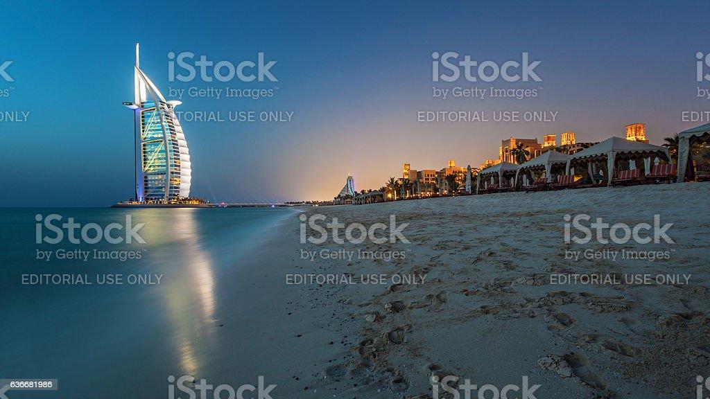 Dubai Burj Al Arab at Sunset stock photo