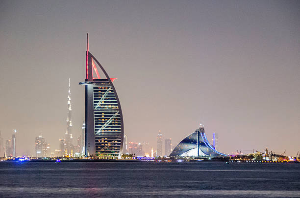 Burj al arab hotel pictures images and stock photos istock for Burj al khalifa hotel