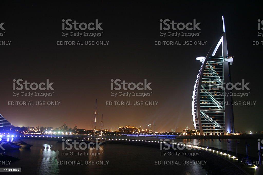 Dubai, Burj Al Arab Hotel during the night stock photo