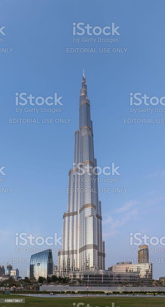 Dubai Burj Khalifa worlds tallest building chrome dusk royalty-free stock photo