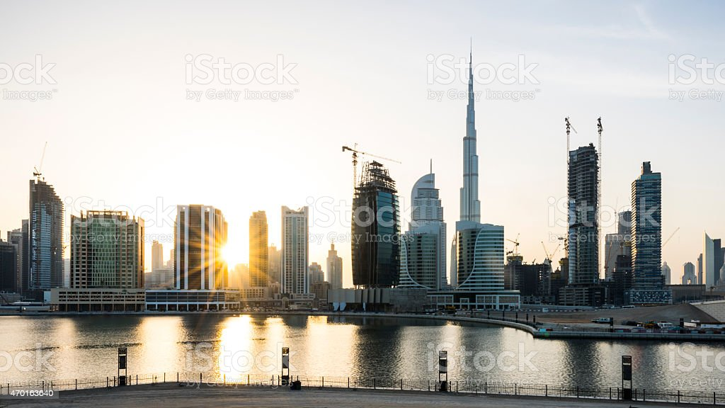 Dubai Business Bay commercial district silhouette panorama stock photo