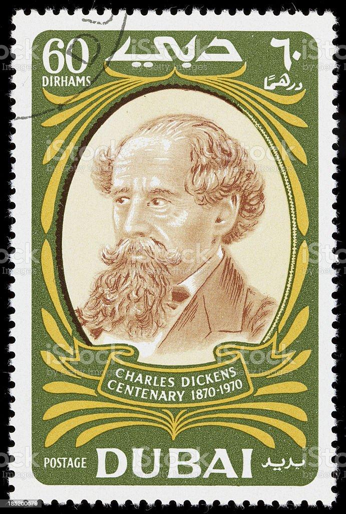 Dubai Charles Dickens postage stamp stock photo