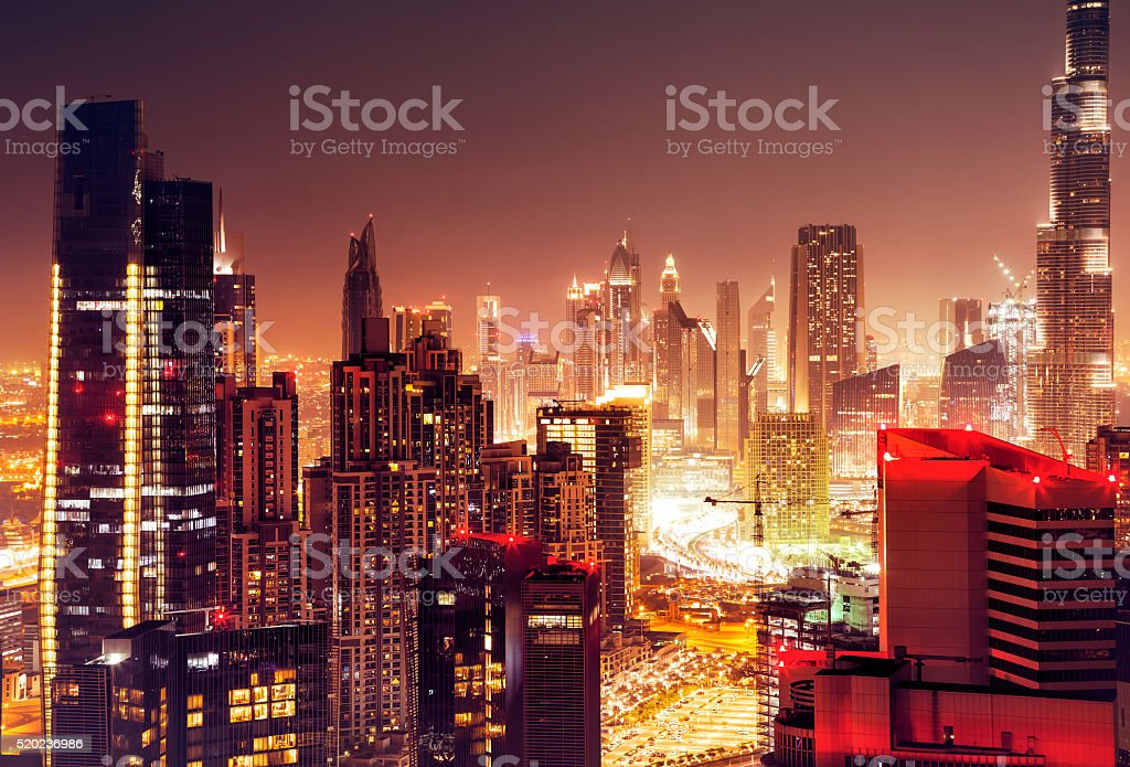 Dubai city at night stock photo