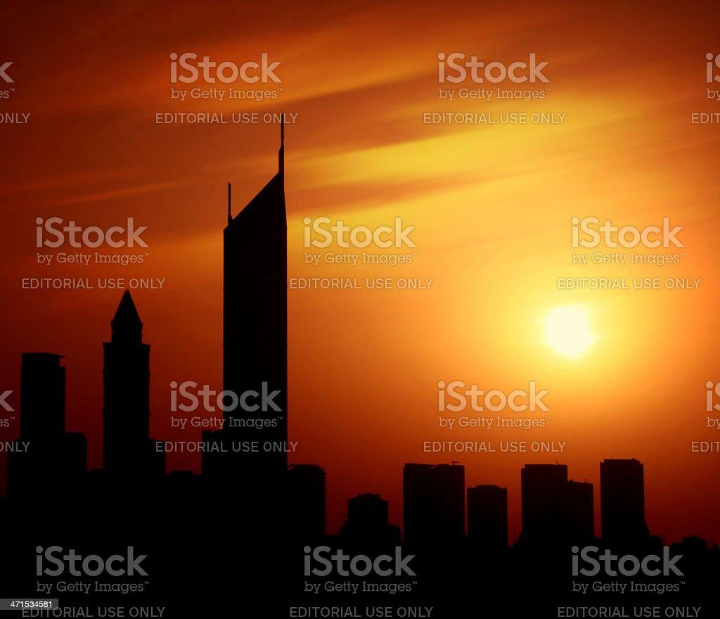 Dubai city at night Sheikh Zayed road on sunset royalty-free stock photo