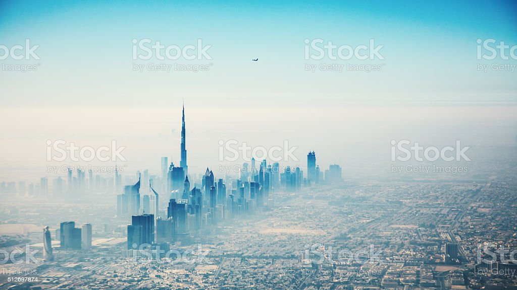 Dubai city in sunrise aerial view stock photo