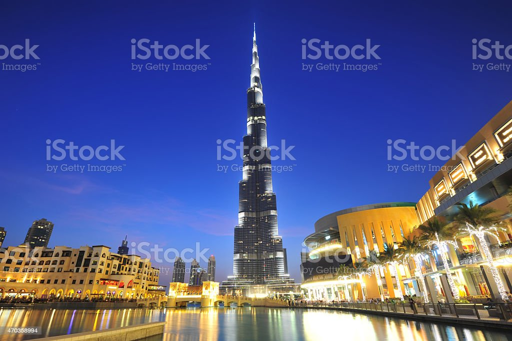 Dubai city night view stock photo