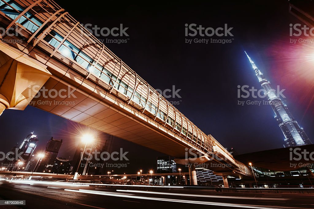 Dubai city nightshot with skyline stock photo