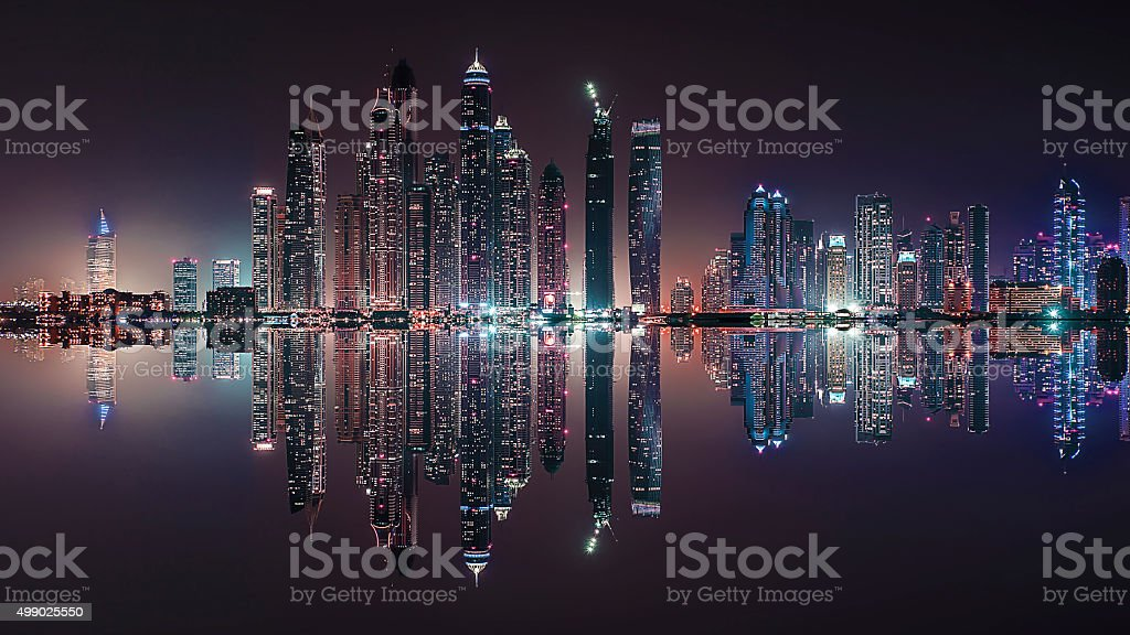 Dubai city reflection stock photo