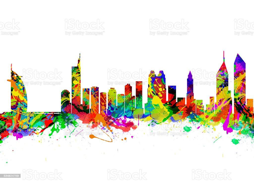 Dubai City Skyline Silhouette stock photo
