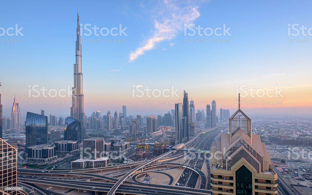 Dubai City Skyline Sunset stock photo