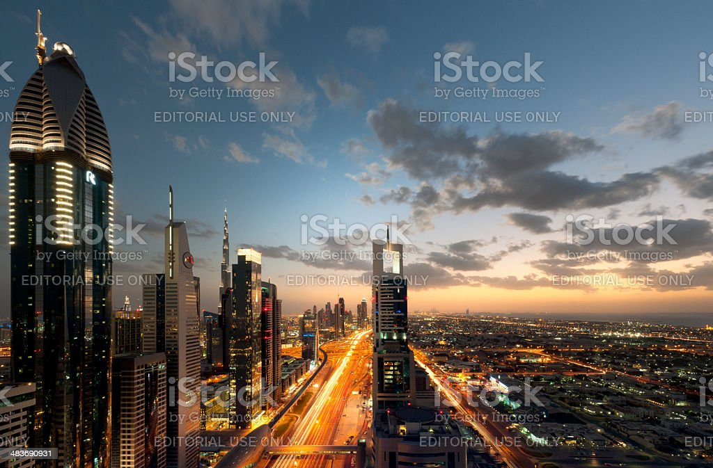 Dubai cityscape at sunset stock photo