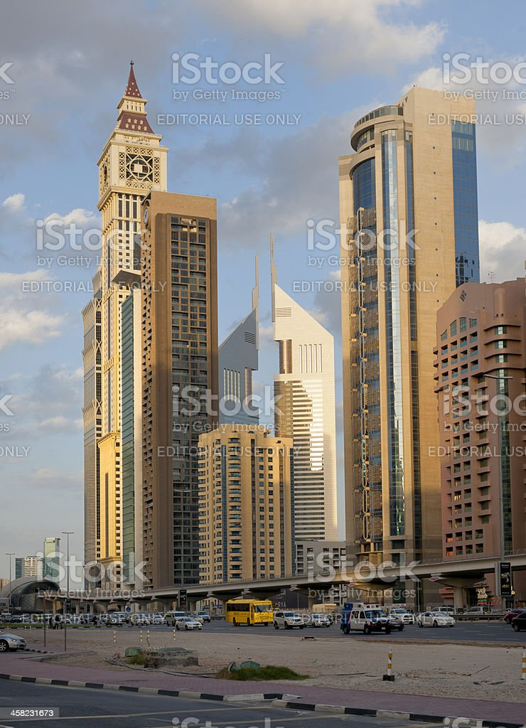 Dubai cityscape, Sheikh Zayed Road stock photo