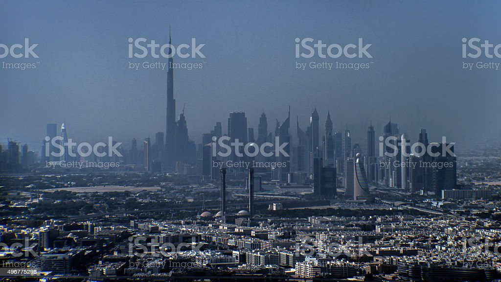 Dubai cityscape viewed from high up stock photo