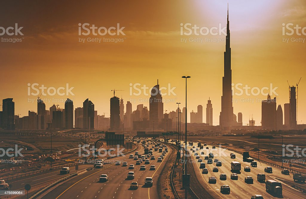 Dubai cityscape with skyscrapers and Highways stock photo