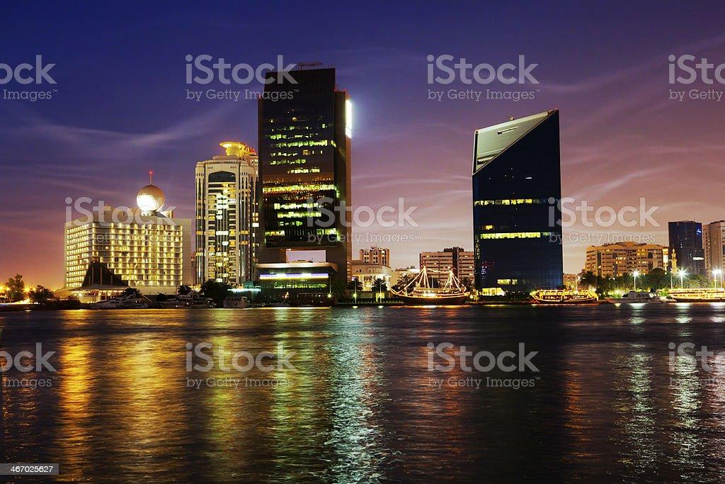 Dubai Creek at Night stock photo