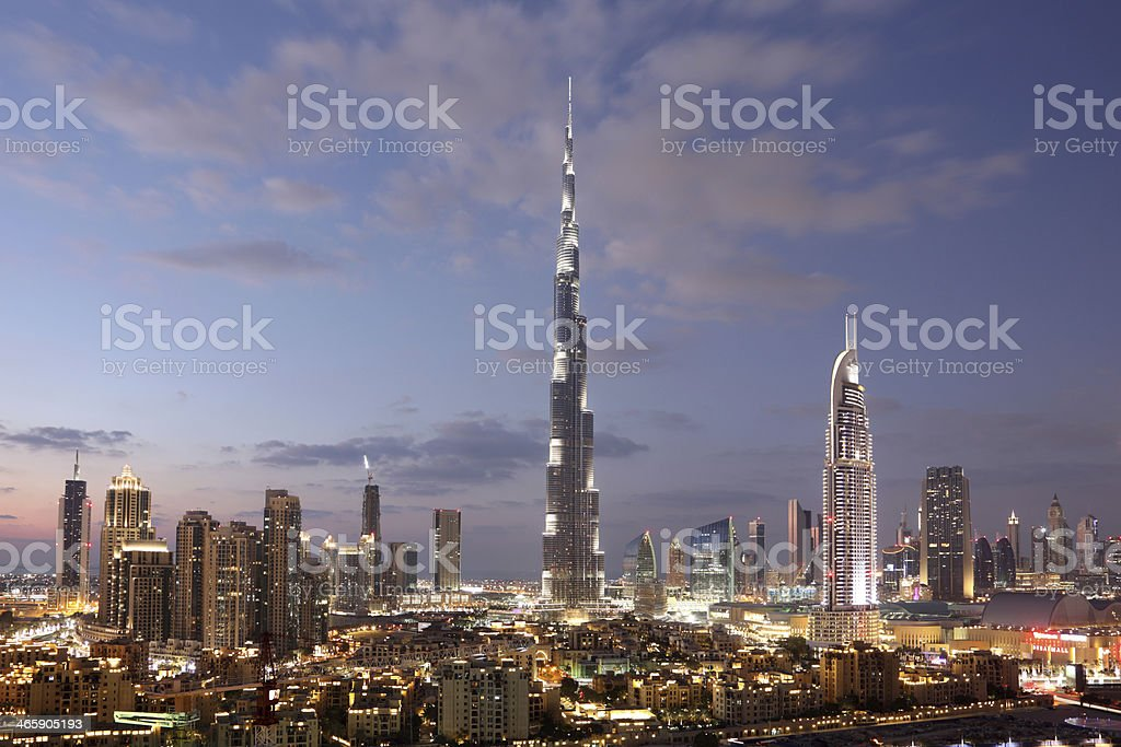 Dubai Downtown at dusk stock photo