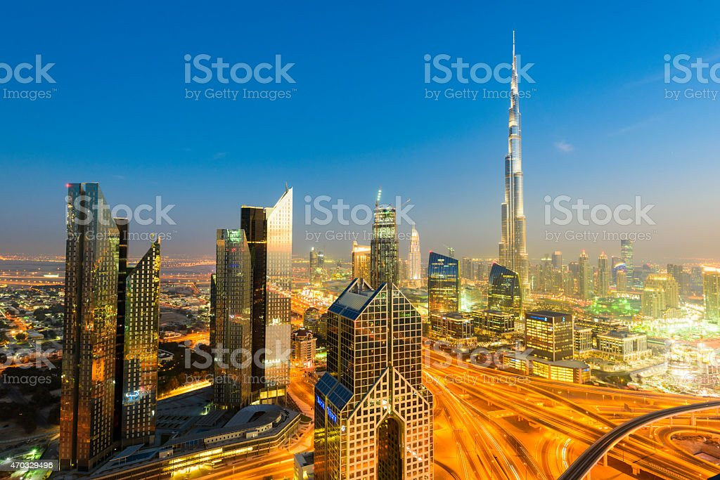 Dubai Downtown at night aerial view stock photo