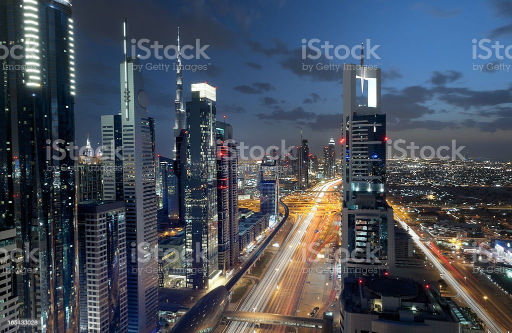 Dubai Downtown at night, long exposure stock photo