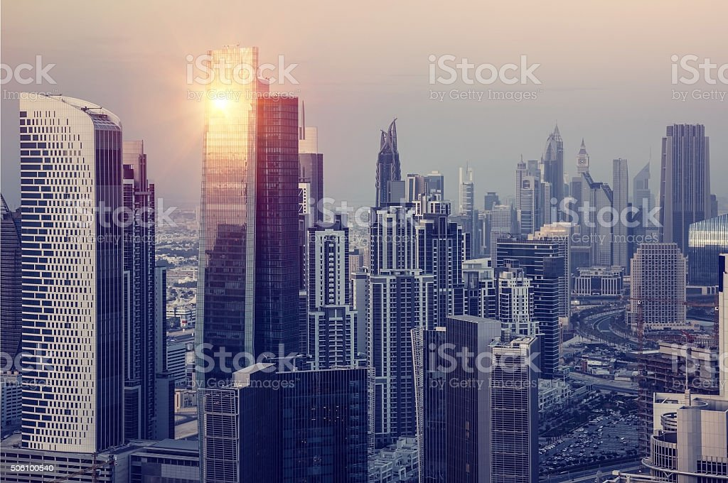 Dubai downtown in the evening stock photo