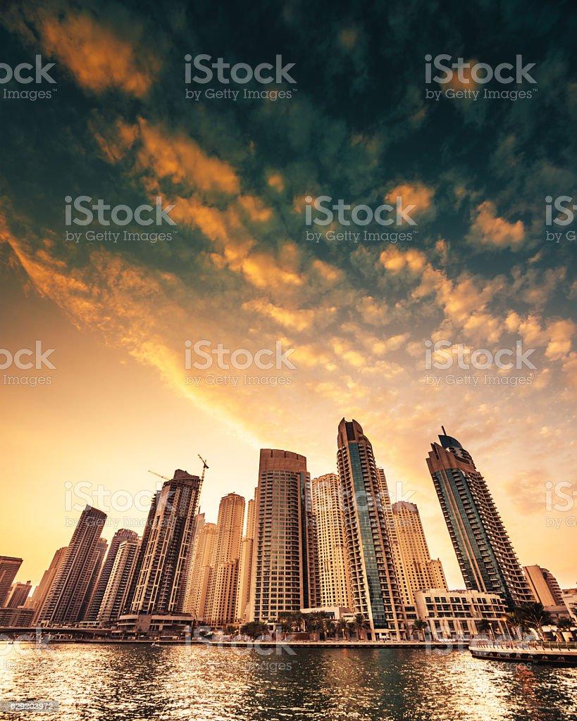 Dubai downtown skyline at dusk stock photo
