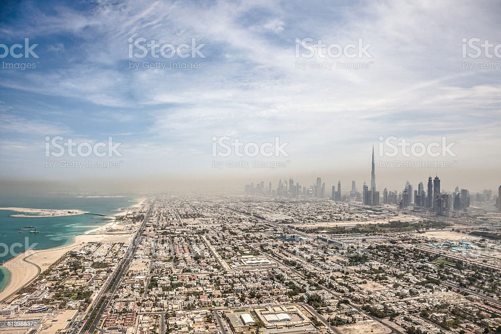 Dubai downtown skyscrapers and office buildings stock photo