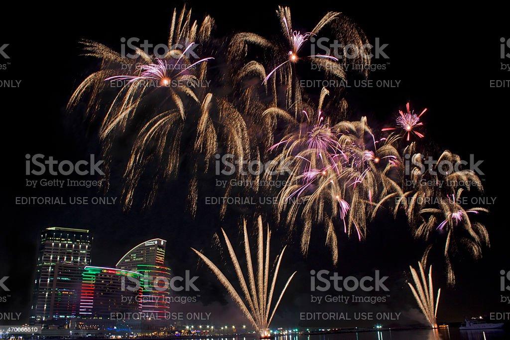 Dubai fireworks stock photo