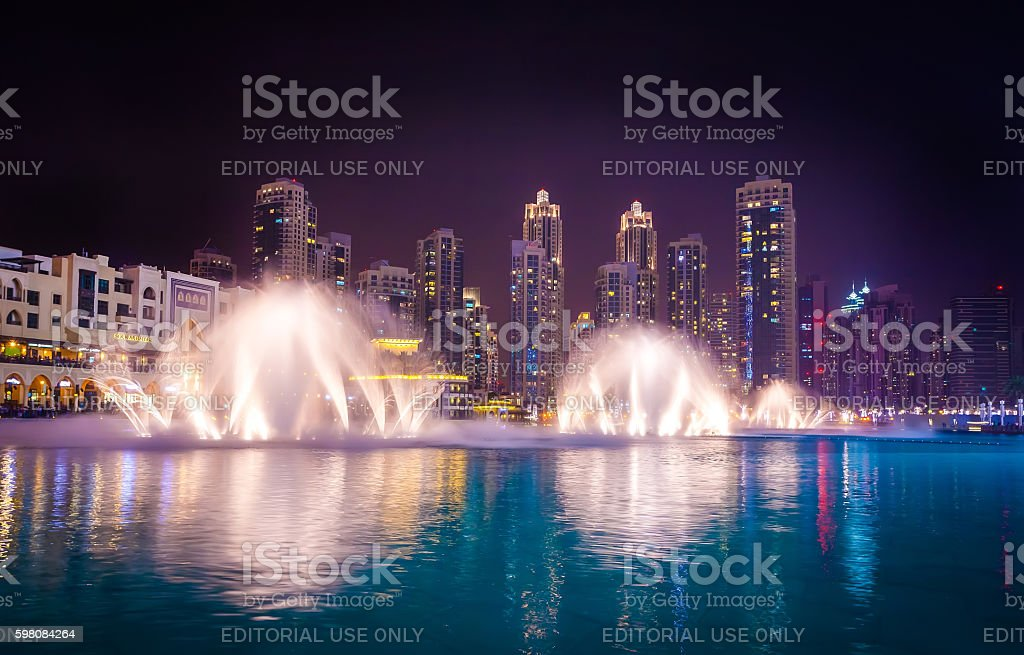 Dubai Fountain is world largest choreographed fountain stock photo