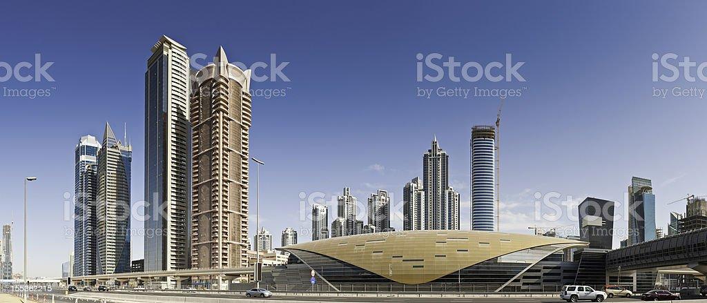 Dubai futuristic metro station skyscrapers Sheikh Zayed Road royalty-free stock photo