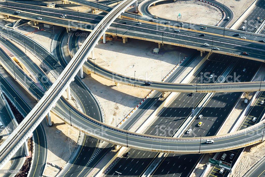 Dubai highway intersection stock photo