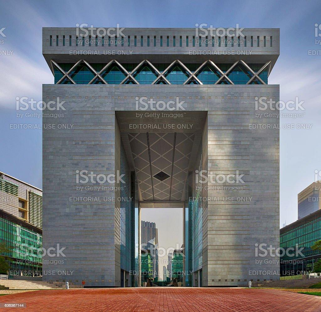 Dubai International Financial Center (DIFC) front view stock photo